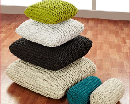 Hand Knitted Cotton Pouf & Cushions - Hand Knitted with the tale of fingers!