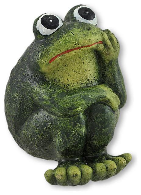 Thoughtful Cement Frog Indoor/Outdoor Figurine tropical-garden-statues-and-yard-art