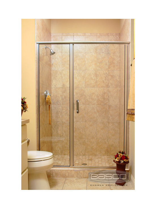 Bathroom Designs: Basco Shower Doors - Infinity Frameless Continuous Hinge Door and Inline Panel featuring Brushed Nickel Finish