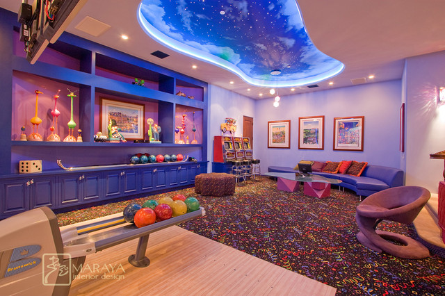 Bowling Alley Eclectic Family Room Los Angeles By Maraya Interior Design