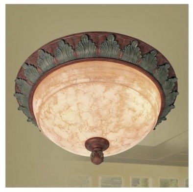 Livex Salerno 8257-17 3-Light Ceiling Mount in Crackled Bronze with Vintage Ston modern-ceiling-lighting
