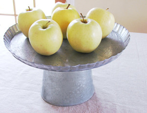 Galvanized Tin Pedestal traditional serveware