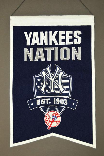 New york yankees mlb 8 x 32 yankees nation banner modern for Yankees bathroom decor