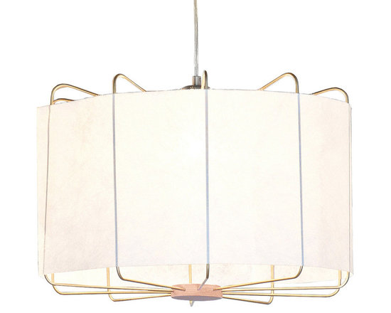 Innermost - Carousel Pendant - The Carousel Pendant features hint of a birdcage merged with a contemporary twist of non woven fabric, making this piece both reassuringly familiar and all new at the same time. A perfect light to dine by or a soft look for bedrooms and living areas. Available with a Brass frame and White or Black fabric. One 100 watt 120 volt A19 type medium base bulb is required, but not included. 24 inch width x 12 inch height. Cable is included for a maximum overall length of 100 inches.