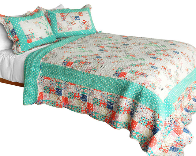 Start My Youth Cotton 3pc Vermicelli Quilted Patchwork