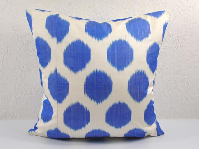 Blue polka dot ikat pillows eclectic-decorative-pillows