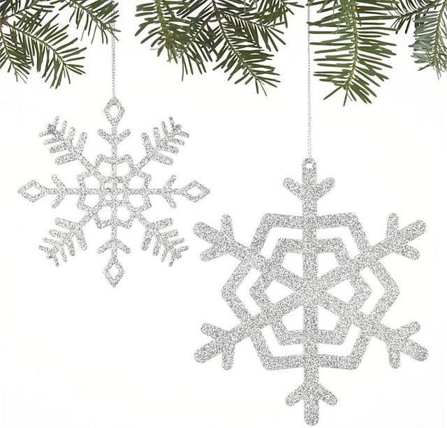 Sparkly Glitter Small Snowflake Ornament traditional holiday decorations