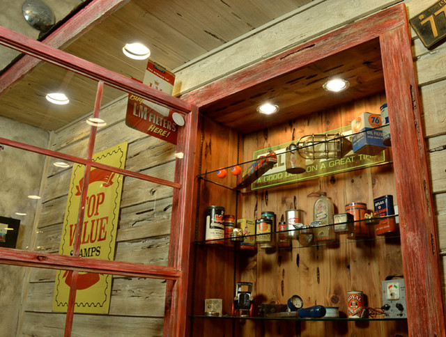 Man cave eclectic garage and shed