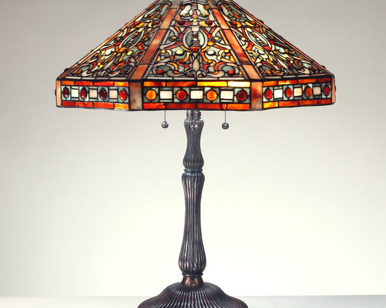 The Secret Garden (TSG 1895 USA) - 23-inch Dramatic Elizabethan Gemstone Tiffany-Style Table Lamp - Gemstone Tiffany-Style Lampshade