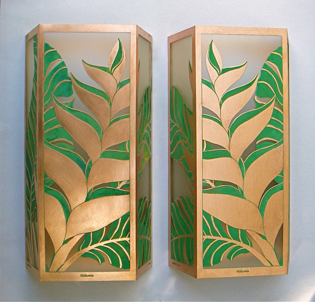 Heliconia Medium Sconces - Tropical - Wall Sconces - hawaii - by Paradise Lights