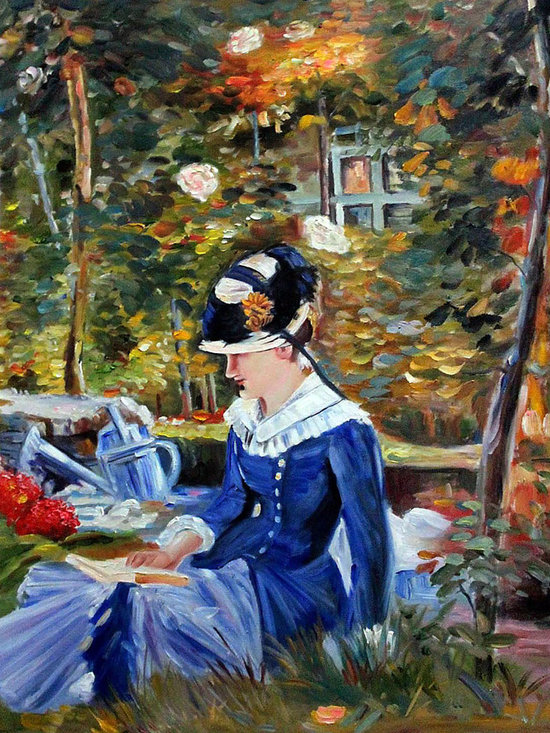 """overstockArt.com - Manet - Young Woman in the Garden - 20"""" X 24"""" Oil Painting On Canvas Hand painted oil reproduction of a famous Manet painting, Young Woman in the Garden. Today the painting has been carefully recreated detail-by-detail, color-by-color to near perfection. Edouard Manet, a French painter, was one of the first nineteenth century artists to display modern-life subjects in his work. He was a key artist in the transition from Realism to Impressionism. Manet captured many aspects of life in his paintings such as cafe scenes, social activities, war, and even portraits. Enjoy all this artist has to offer whatever your interest may be."""