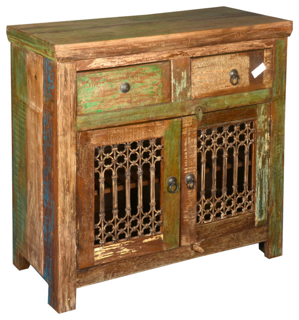 Appalachian reclaimed wood wrought iron buffet cabinet