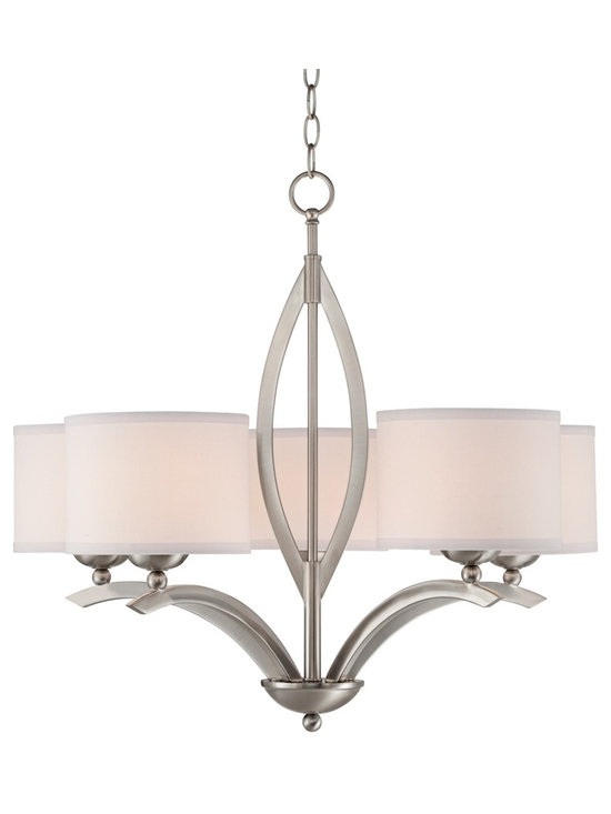 "Possini Euro Design - Brushed Nickel Linen Shade 27 1/4"" Wide 5-Light Chandelier - Visually stunning this five light chandelier is a study in brilliance. The brushed nickel finish picks up the lighting that is being thrown upwards by the linen shades perfectly. Clean classic styling makes it a must have for the luxury home. Brushed nickel finish. Linen shades. Takes five 100 watt bulbs (not included). 27 1/4"" wide. 24 1/4"" high. Includes 6 feet chain and 12 feet wire. Canopy is 5"" wide. Hang weight is 7 pounds.  Brushed nickel finish.   Linen shades.   Takes five 100 watt bulbs (not included).   27 1/4"" wide.   24 1/4"" high.   Canopy is 5"" wide.   Includes 6 feet chain and 12 feet wire.  Hang weight is 7 pounds."