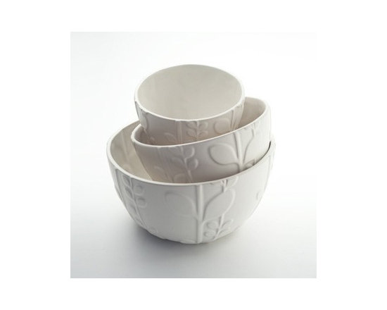 Beehive Laurel Mixing Bowls - Inspired by natural beauty and modern design, the Laurel Mixing Bowls by Beehive are designed to be as practical as they are beautiful. Each hand-crafted stoneware piece is high-fired for durability and is microwave and dishwasher safe.