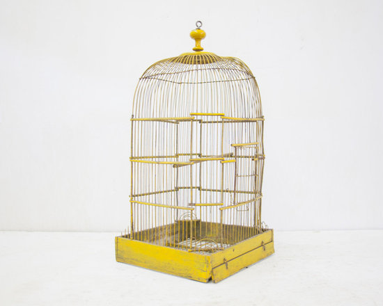 Beautiful French Yellow Antique Birdcage by The Parson's Pleasures -