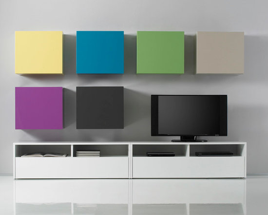 Modern Wall Unit TV Media Entertainment Center Combi 14 - $1,812.00 - Modern Wall Unit TV Media Entertainment Center Combi 14. Composition Combi 14 consist of two joined TV bases and six hanging cube-boxes. Box is a new, ultra modern modular system, that have been designed to offer extreme flexibility of compositions and colors. All units are available in 7 colors: White, Sand, Dark Gray, Turquoise, Lilac, Yellow or Green. The maximum modularity of the elements provides you with unlimited design flexibility, you can choose from one of our pre-designed compositions or build your own according to your needs. Please contact our office about details on customization of this wall unit.