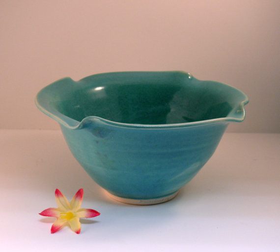 Blue Ceramic Bowl Personal Size Salad Bowl by Blue Sky Pottery modern dinnerware