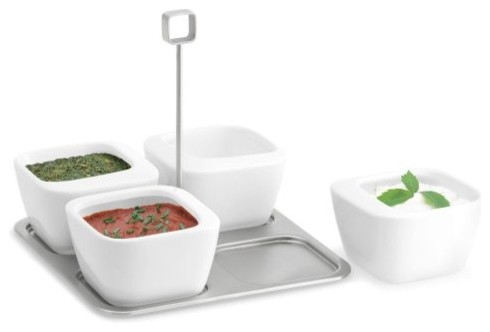 Enza Dip Bowl Set on Tray-5 Piece Set contemporary serveware