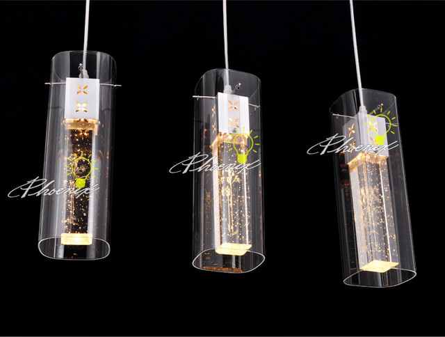 3 LED Crystal Bar Pendant Light