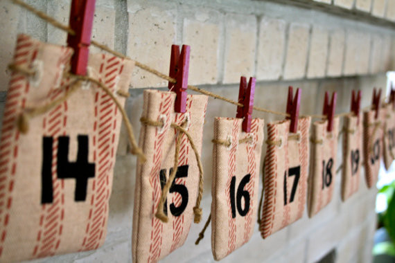 Advent Calendar Ticking Stripe Drawstring Bags by The Washroom modern-holiday-accents-and-figurines