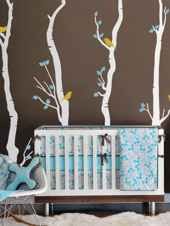 4 Birch Trees with Birds - Original design © 2012 Wall Definition.