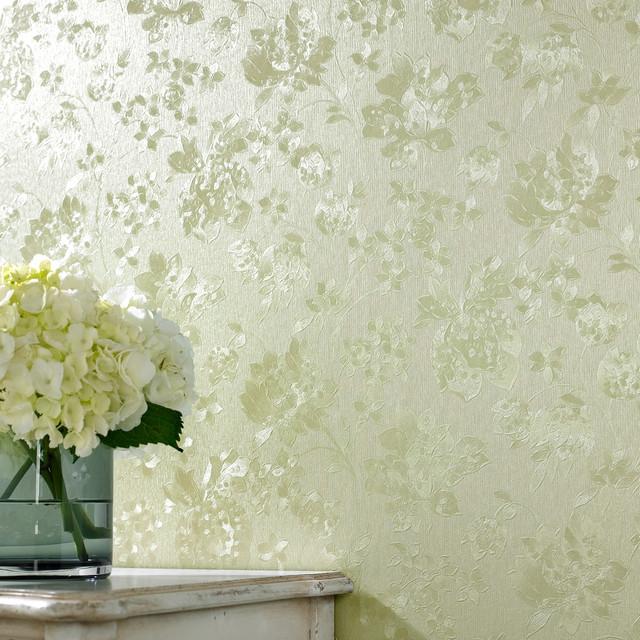 Floral Silk Green Shimmer Modern Wallpaper By Graham