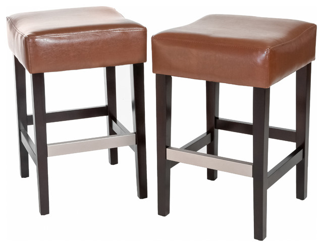 Barto Leather Backless Stools Set Of 2 Hazelnut Bar