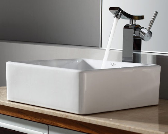 "Kraus C-KCV-120-14300CH White Square Ceramic Sink and Unicus Faucet - APPLY COUPON CODE ""EDHOUZ30"" AT CHECKOUT. JUST OUR WAY OF SAYING THANKS."