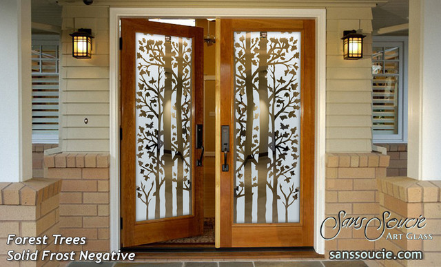 Forest Trees Frosted Glass Front Doors - Exterior Glass Doors - Glass Entry Door - Rustic ...