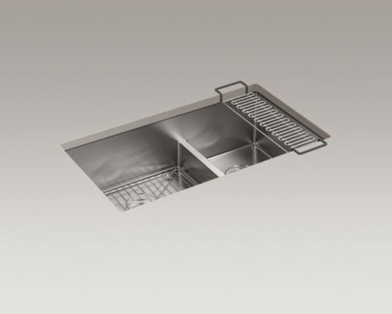 "KOHLER - KOHLER Strive(TM) 32"" x 18-5/16"" x 9-5/16"" Smart Divide(R) under-mount large/med - This Strive kitchen sink offers professional style with easy-to-clean curved corners.�Made of thick, premium quality 16-gauge stainless steel, the large and medium offset bowls feature a sound-absorption system that significantly reduces disposal and dishwashing noise. A low barrier divides the two compartments, making it easy to wash and rinse large items while still keeping the basins separate.�This sink includes a bottom basin rack to help prevent scratches and a sink bridge utility shelf with dishcloth bar to organize dishcloths, scrubbers, and sponges."