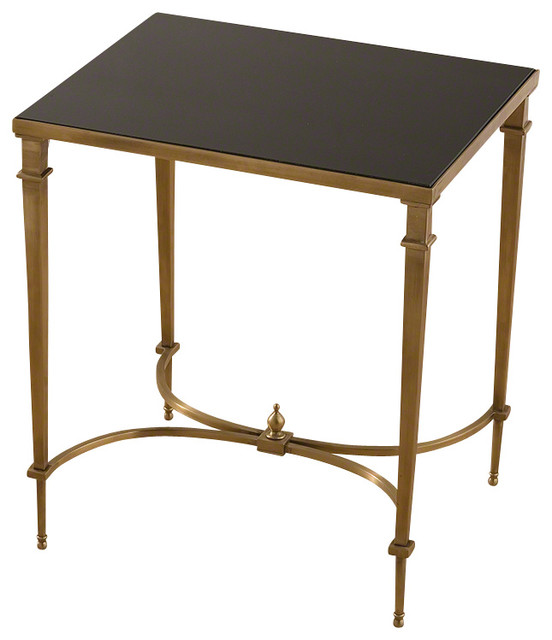 Rectangular French Square Leg Table - Brass & Black Granite - Transitional - Side Tables And End ...