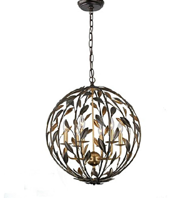 Country Iron Art Orb Chandelier in Baking Finish