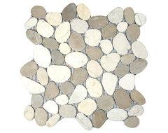 Sliced Tan & White Pebble Tile contemporary-tile