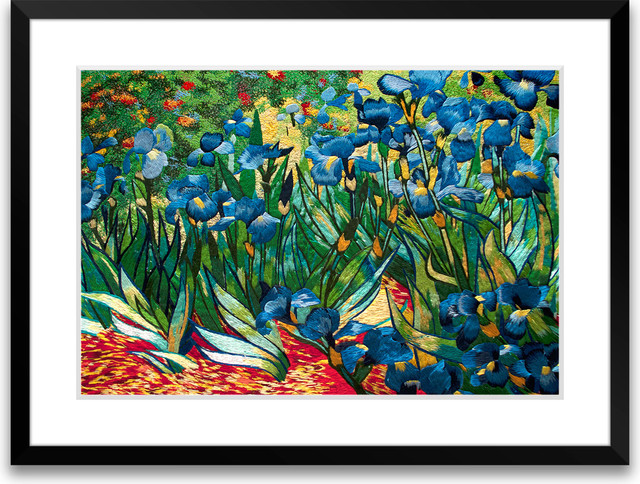 Irises  Hand Designed Silk Art Silk Embroidery  Asian