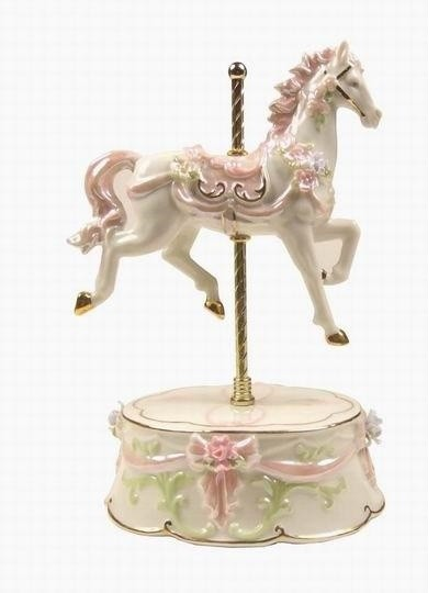 8 Inch Single White And Pink Carousel Horse Ceramic