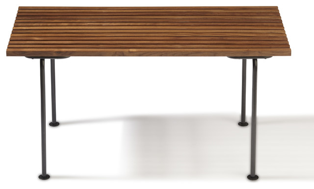 Rift Mini Bench, Walnut and Blackened Steel contemporary-indoor-benches