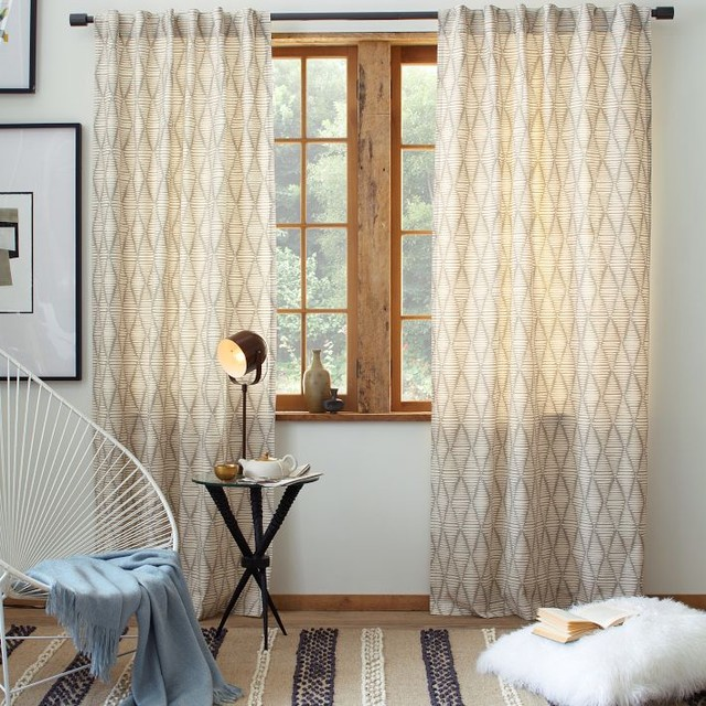Cotton canvas printed window panel koba contemporary Contemporary drapes window treatments