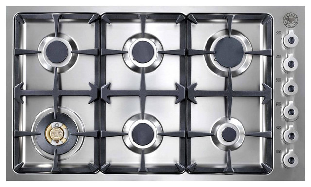 """Bertazzoni 36"""" Professional Series Gas Cooktop, Stainless Steel 