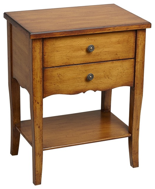 Country - Cottage Alma 2-Drawer Pecan Finish Wood Accent Table