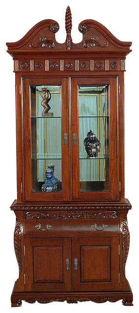 Solid Mahogany Lighted Curio Hutch Display Showcase Bookcase China Cabinet traditional-home-office-accessories