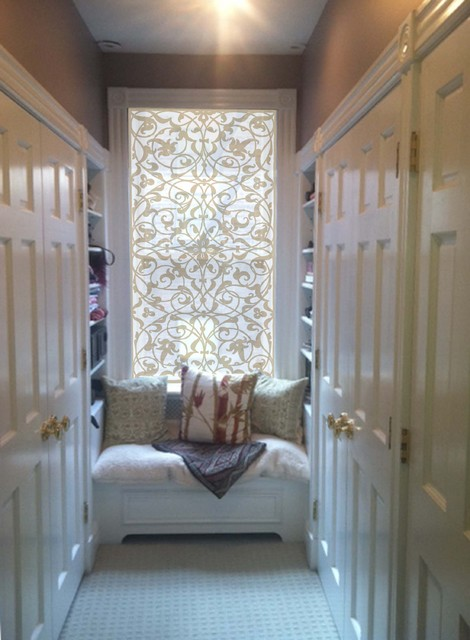 Delia Shades Custom Solar Shades in Italian Arabesque pattern eclectic roller blinds