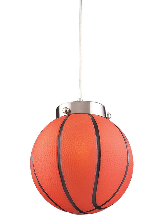 Belle & June Lighting - Bring the stadium home with the Basketball Pendant Light, perfect for a sports fan of any age. This novelty pendant light uses an illuminated basketball for a unique and whimsical addition to a child's bedroom or playroom. Includes 6 feet of cable.