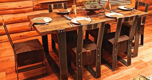 Reclaimed wood steel furniture rustic dining sets Reclaimed wood furniture colorado
