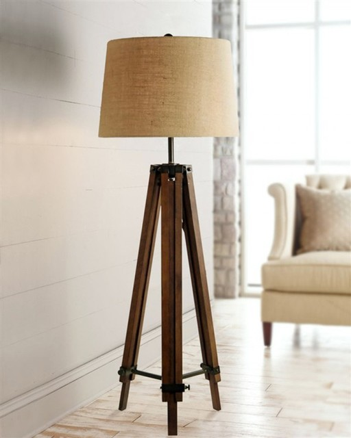 Wood tripod floor lamps for living room traditional for Living room floor lamps