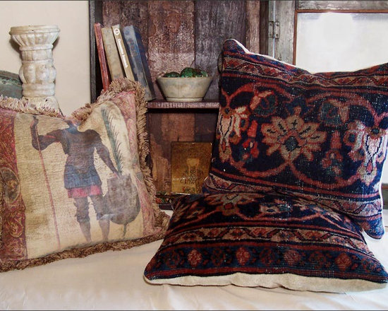 Antique Carpet Pillows ~ Flea Finds - A Selection of Old World Decorative Pillow Finds Including a Pair of Antique Carpet Pillows, and a Single Pillow of Chenille Printed in an Old World Motif.