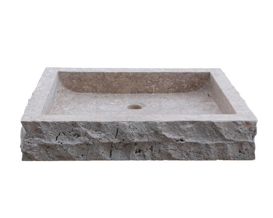 TashMart - Chiseled Rectangular Natural Stone Vessel Sink - The Chiseled Rectangular Vessel Sink in light travertine is made from one solid piece of natural stone.  This sink has a chiseled outside edge that adds to the natural beauty of the sink.  This sink is the perfect option for your home or restaurant project.  This sink is available in light travertine, noce, sea grass and beige marble.