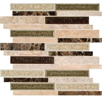 Glass Tile: Stonegate Interlocking 12 in. x 12 in. Glass/Stone Blend Mesh-Mounte contemporary-tile
