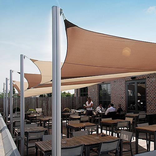 Ingenua Rectangular Shade Sail System with Two Wall Tracks and Two ...