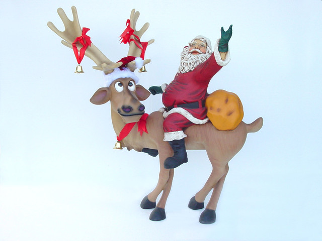 Reindeer Standing With Santa Claus Statue Christmas Decor