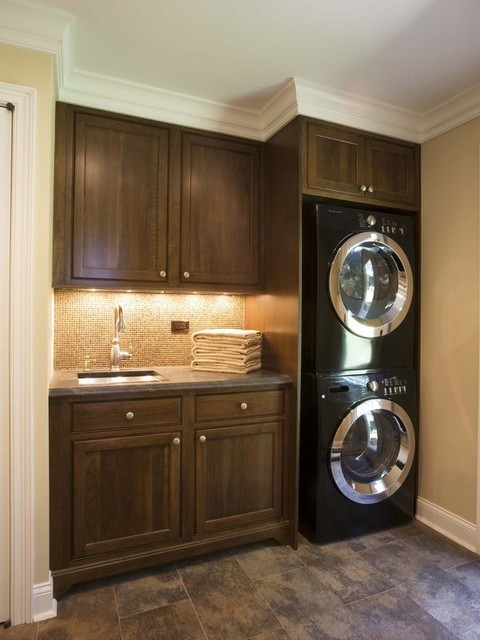 Washer dryer stack for Laundry room design ideas
